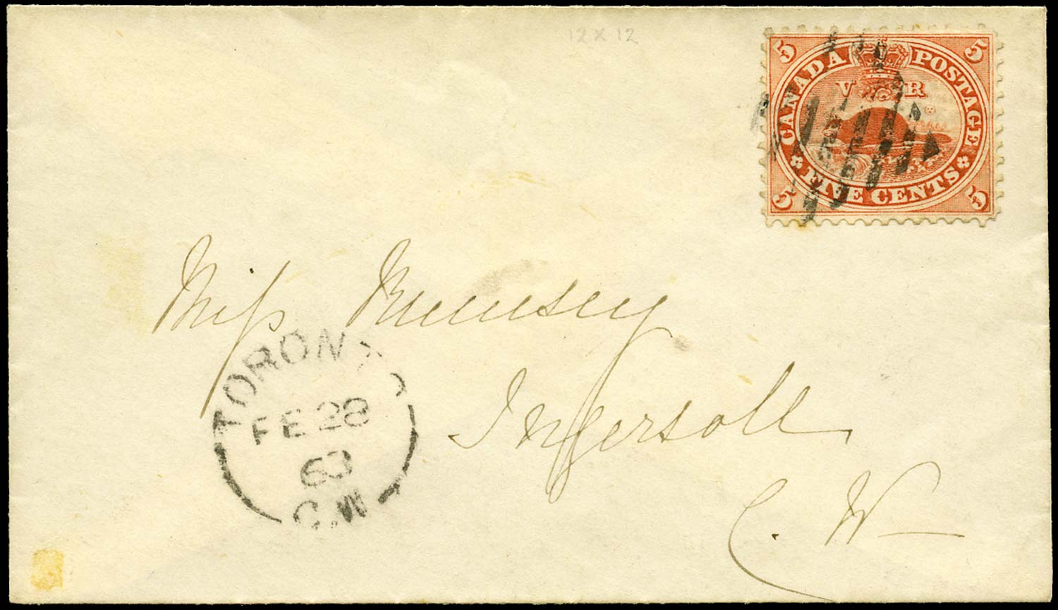 CANADA 1863  SG31 Cover from Toronto to Ingersoll with 5c Beaver