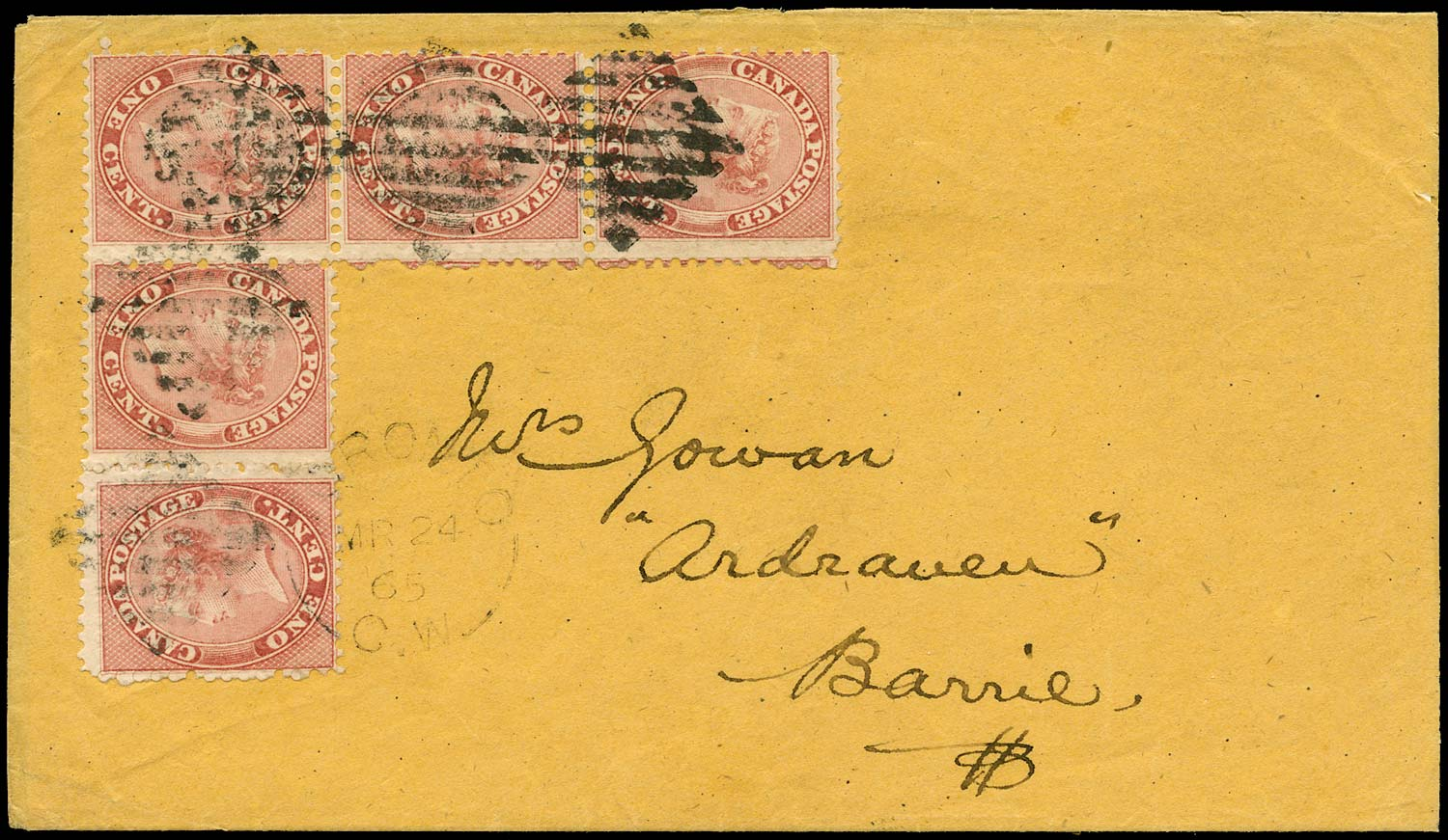 CANADA 1865  SG29 Cover from Toronto to Barrie with 1c irregular block of 4