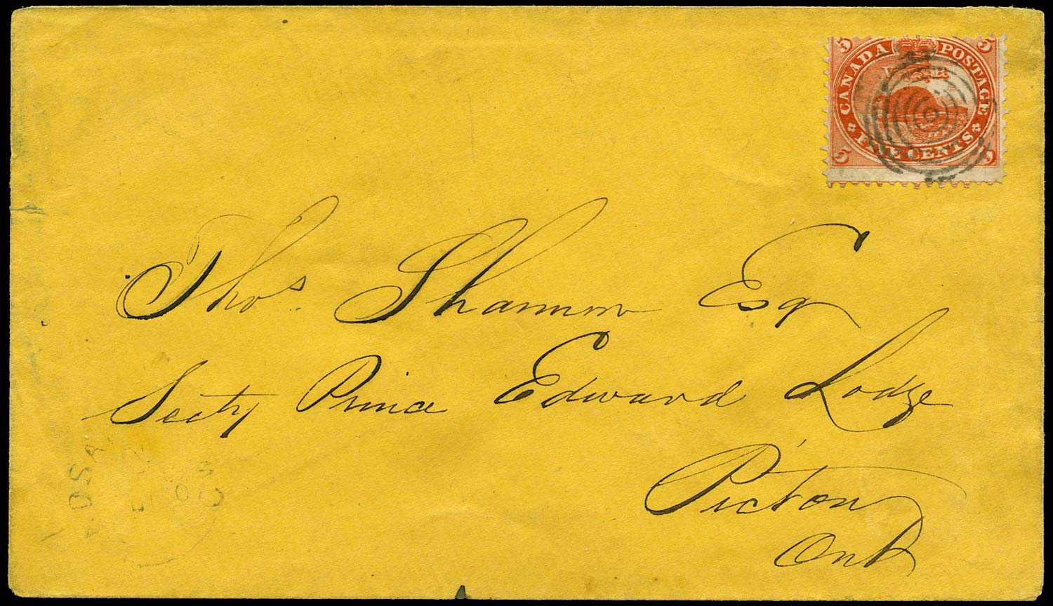 CANADA 1868  SG32a Cover franked by 5c Beaver with R3/8 major re-entry