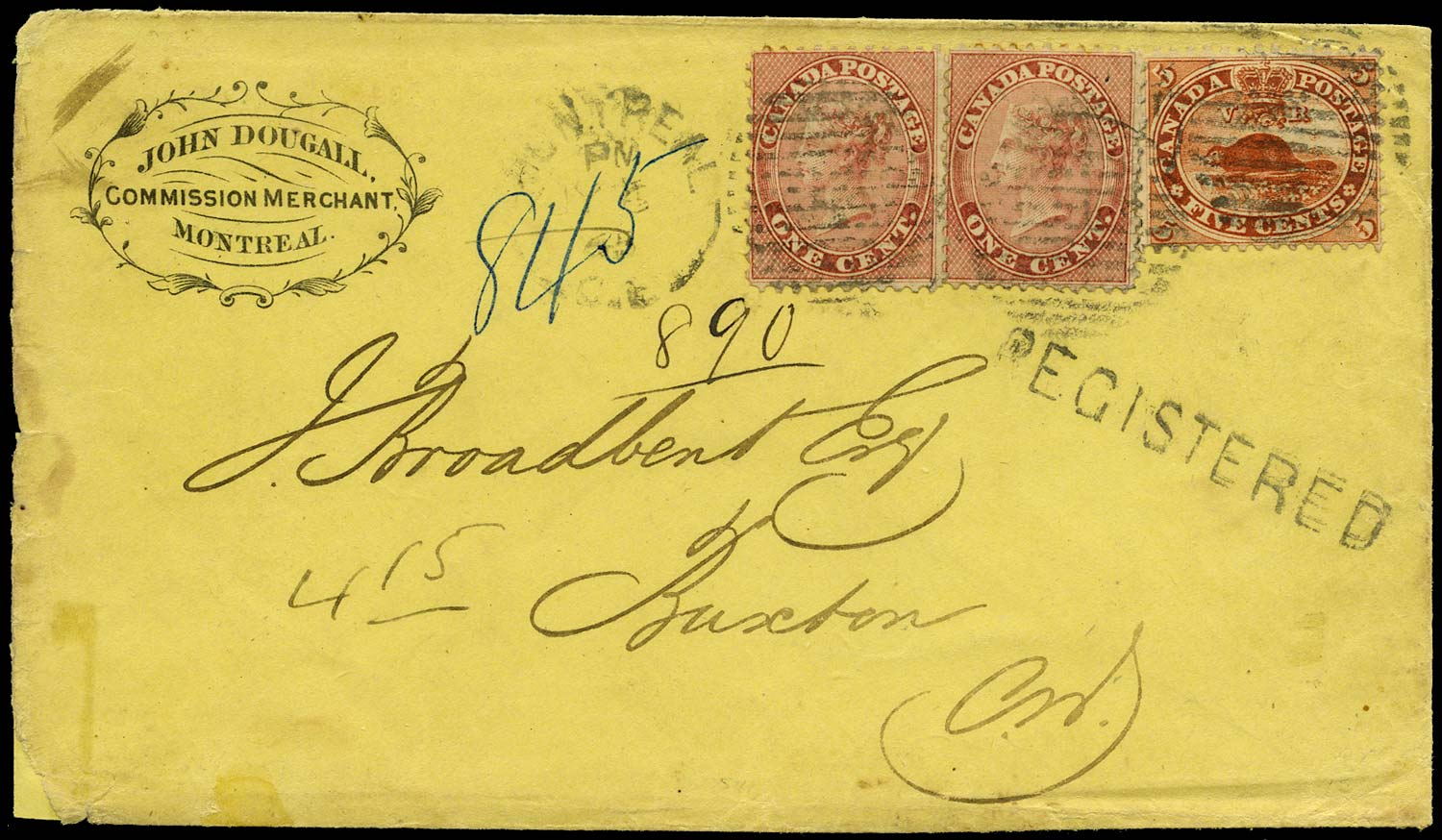 CANADA 1865  SG30, 32 Cover registered from Montreal to Buxton RPO cancels