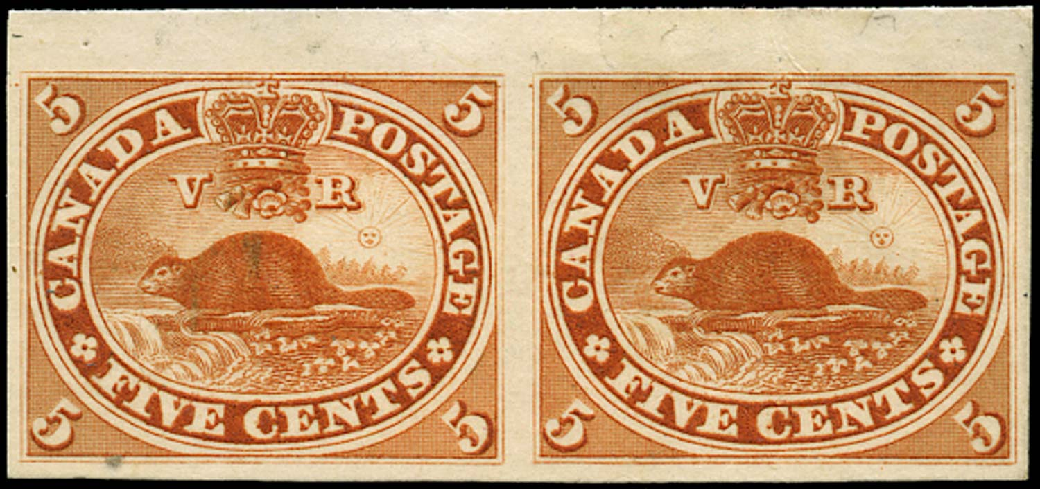 CANADA 1859  SG31 Proof Beaver 5c orange brownish red imperf pair