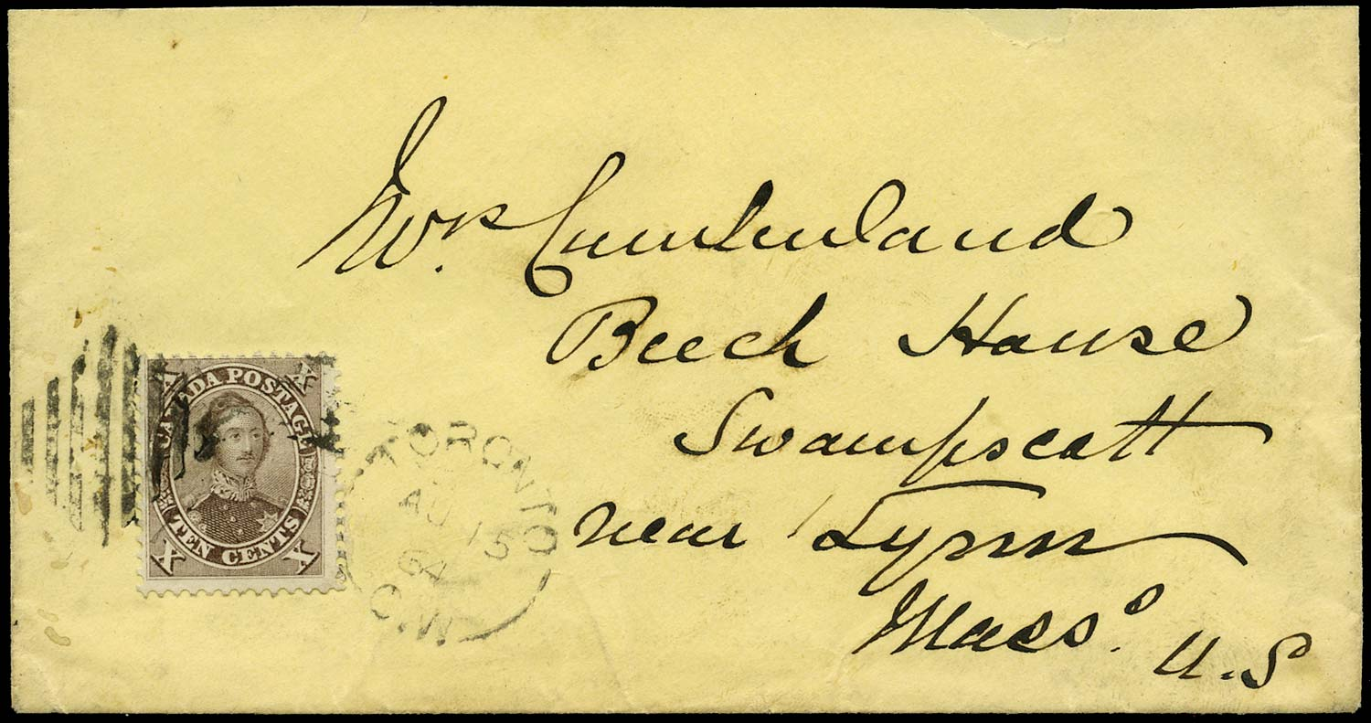 CANADA 1864  SG34 Cover from Toronto to USA with 10c Prince Consort