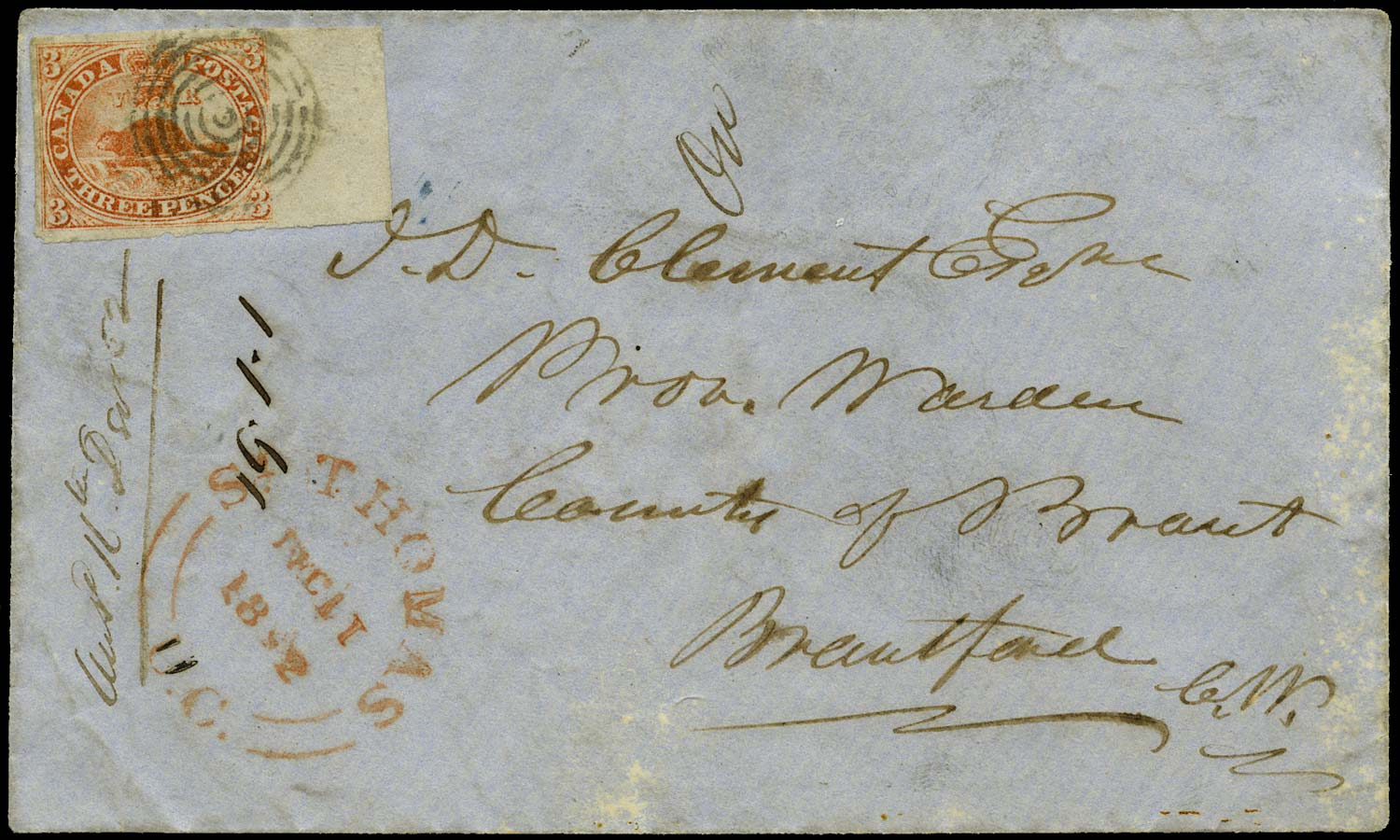CANADA 1852  SG5 Cover from St Thomas to Brantford with 3d Beaver