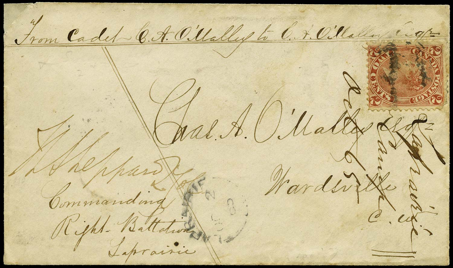 CANADA 1865  SG44 Cover from soldier at Laprairie Camp to Wardsville 2c rate