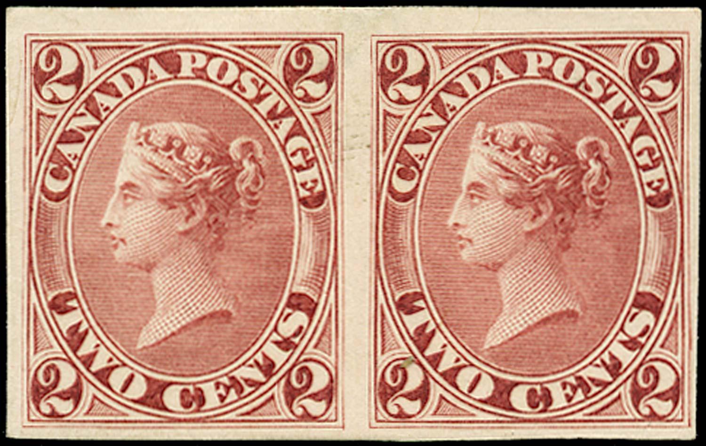 CANADA 1864  SG44 Proof 2c dark rose imperforate pair