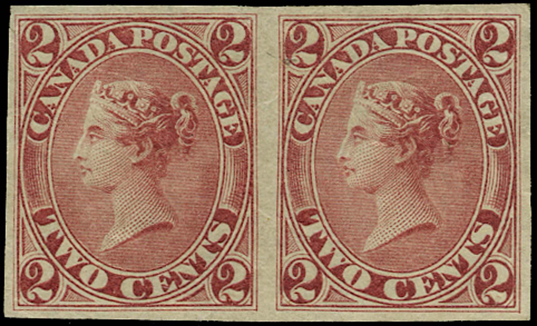 CANADA 1864  SG44 Proof 2c claret imperforate horizontal pair