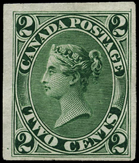 CANADA 1864  SG44 Proof 2c green imperforate