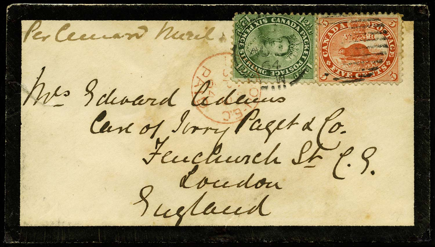 CANADA 1864  SG31, 41 Cover from Hamilton to England 17c Cunard Line rate