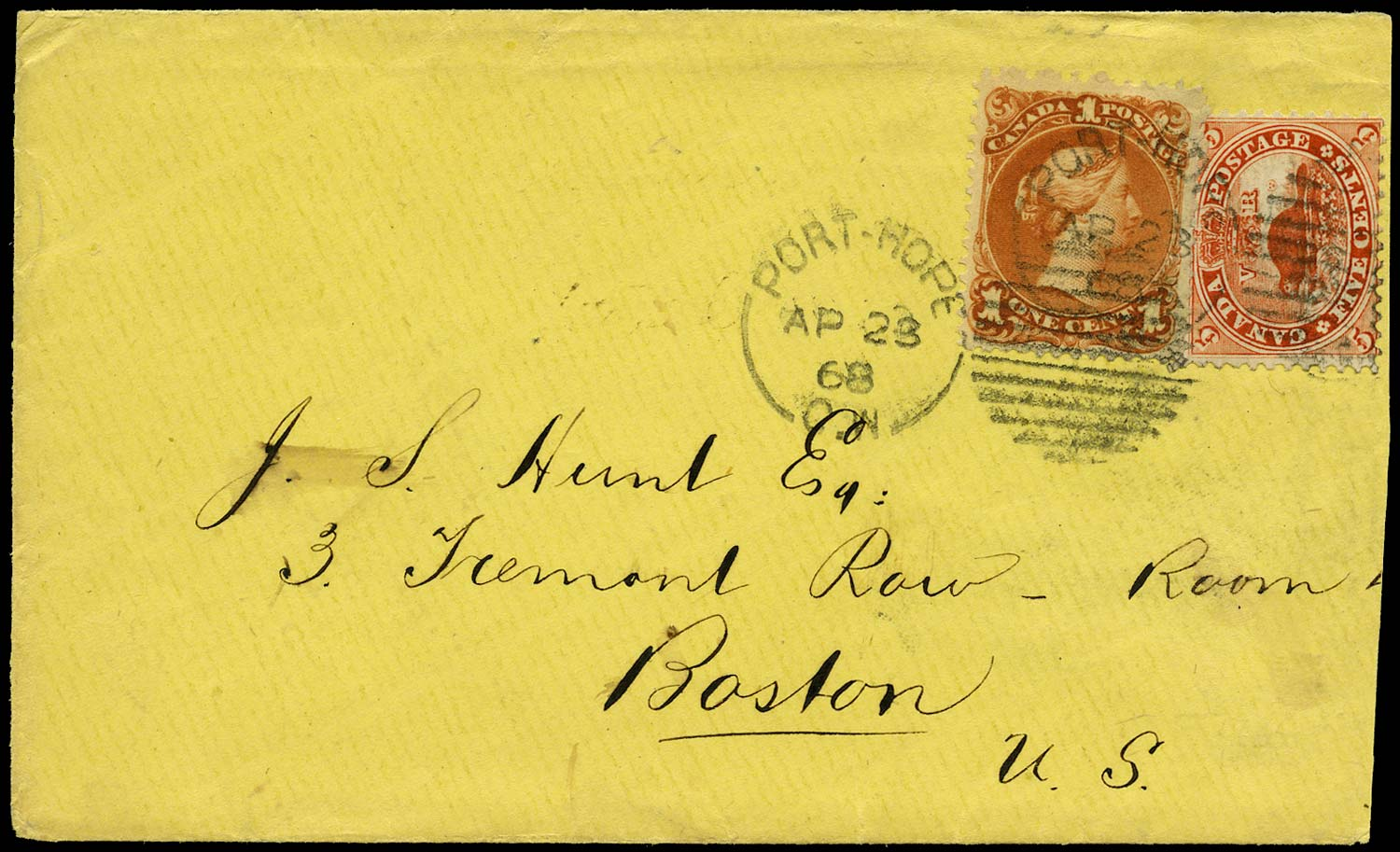 CANADA 1868  SG32, 47 Cover with mixed 'Cents' and 'Large Queen' franking