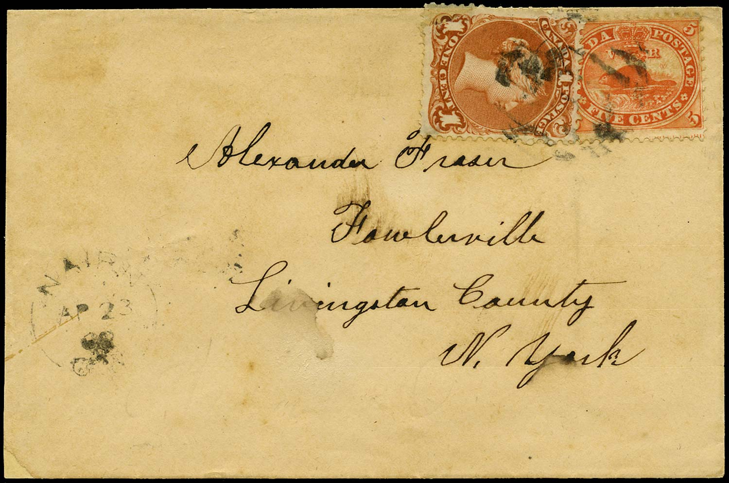 CANADA 1868  SG31, 47 Cover with mixed 'Cents' and 'Large Queen' franking