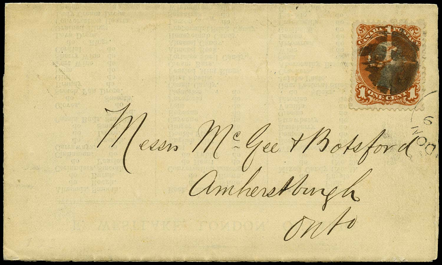 CANADA 1868  SG55 Cover advertising circular to Amherstburg at 1c rate