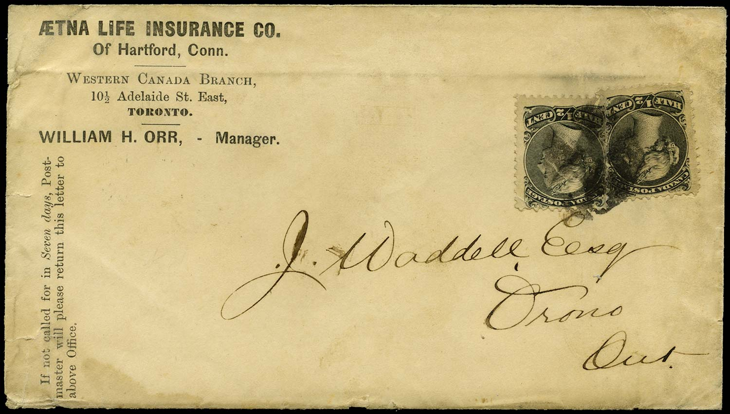 CANADA 1881  SG54 Cover with Large Queen ½c x2 printed matter rate