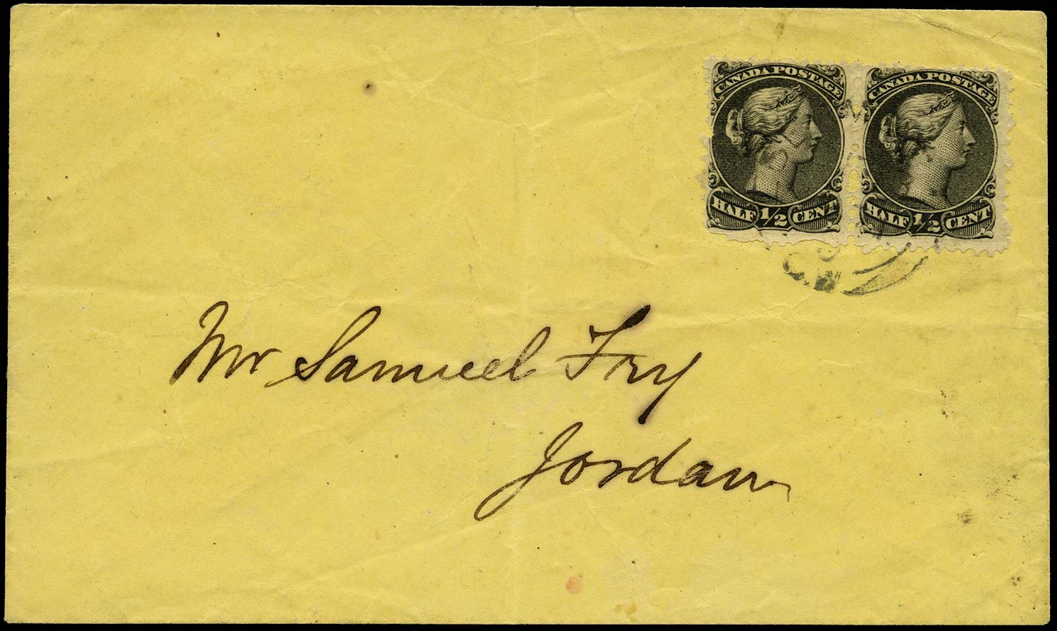 CANADA 1871  SG62 Cover with Large Queen ½c x2 printed matter rate