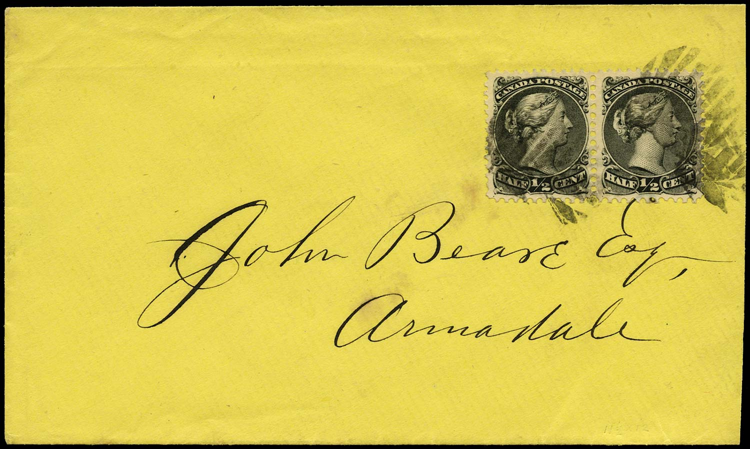 CANADA 1871  SG62 Cover with Large Queen ½c x2 drop letter rate