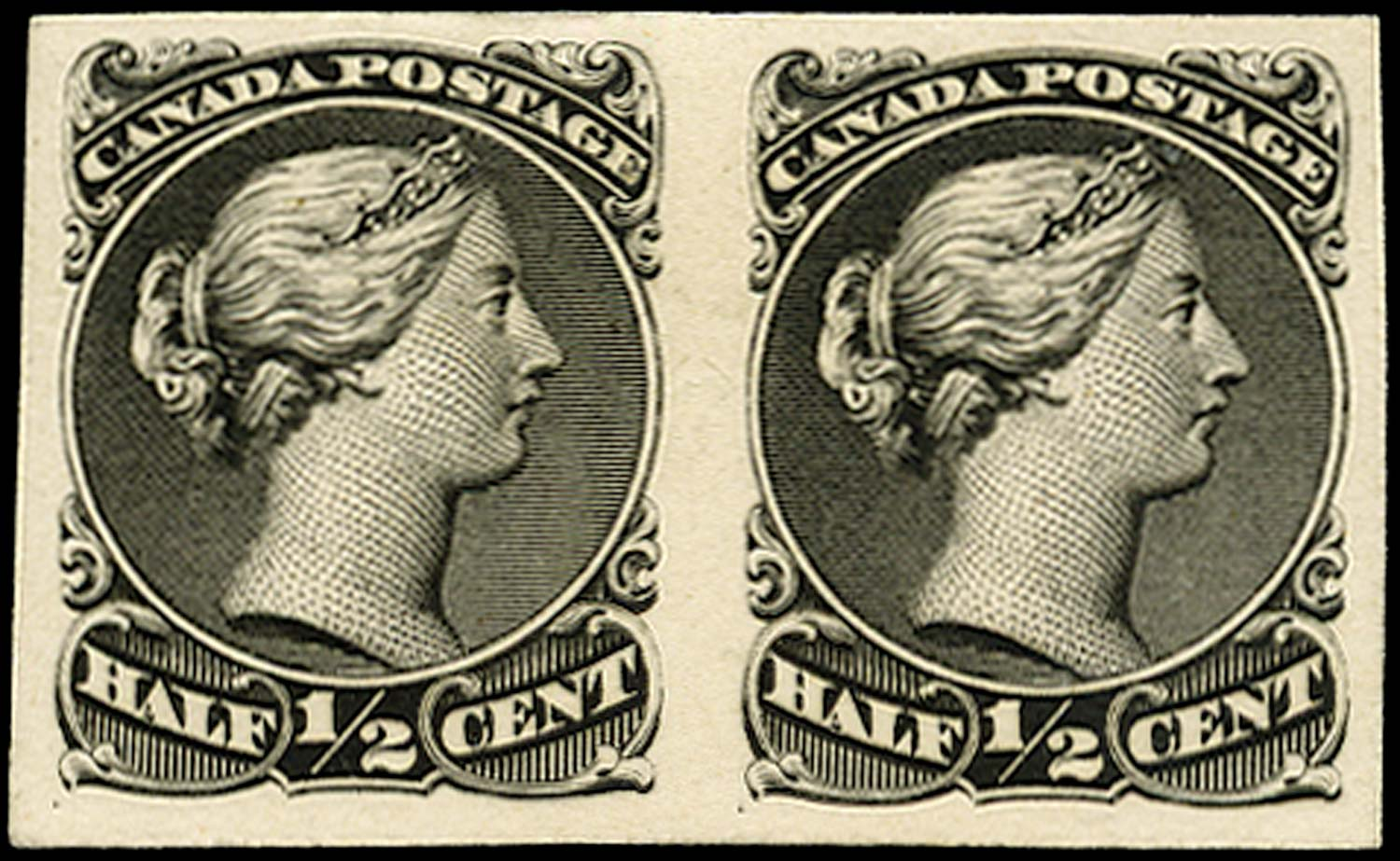 CANADA 1868  SG46 Proof ½c black Large Queen imperf pair