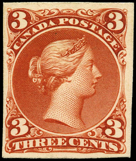 CANADA 1868  SG49 Proof 3c red-brown Large Queen imperf