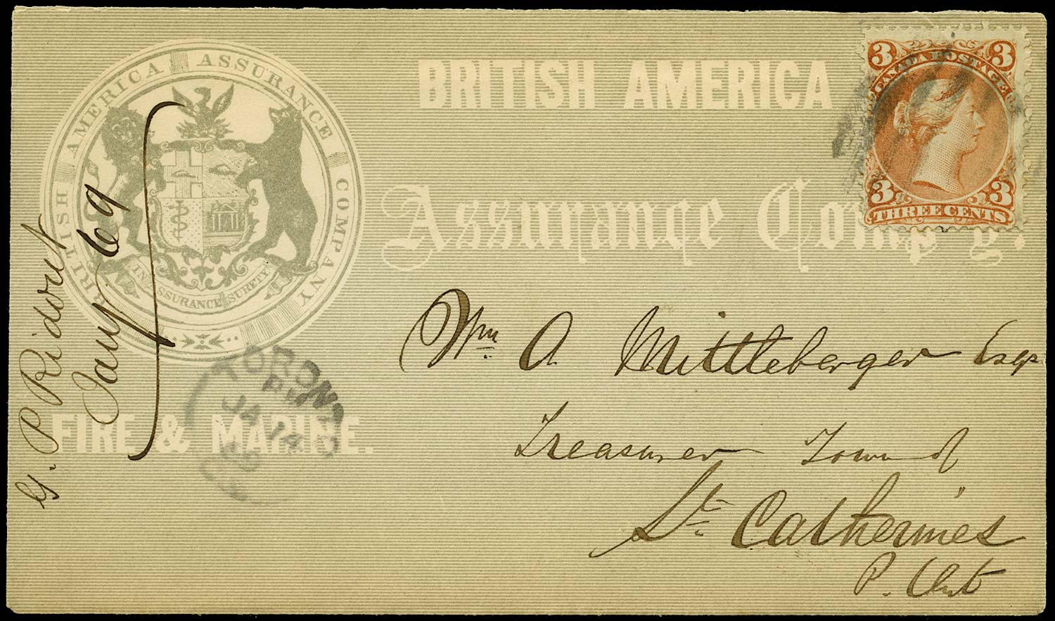 CANADA 1869  SG55 Cover all-over advertising from Toronto to St Catherines