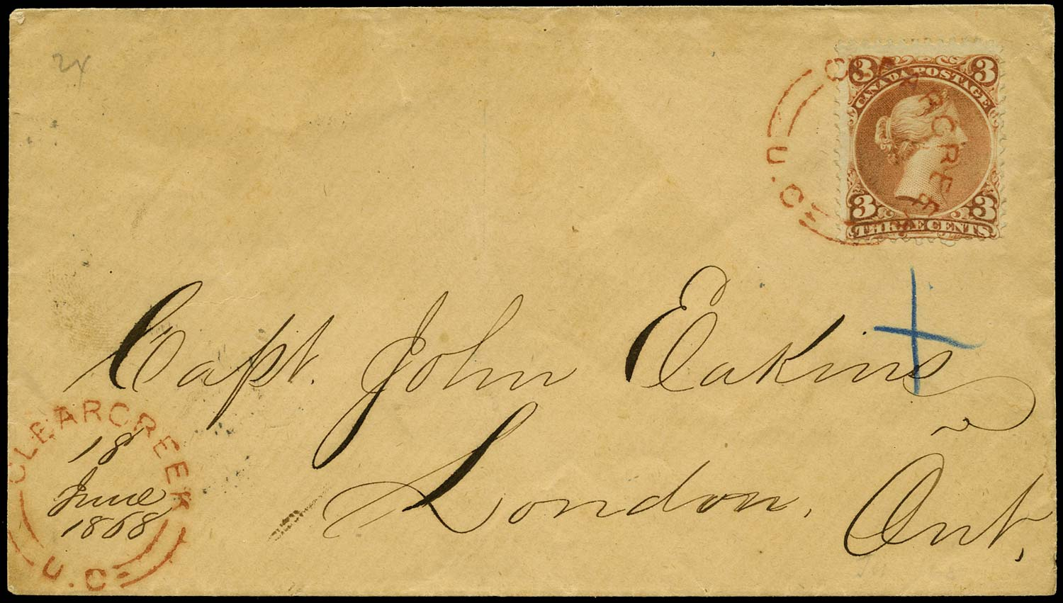 CANADA 1868  SG49 Cover from Clear Creek to London with red udc
