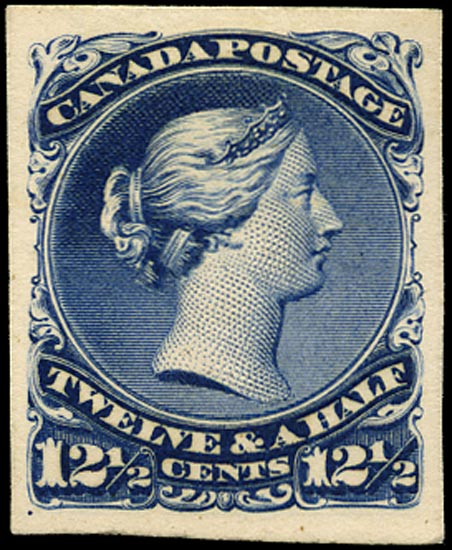 CANADA 1868  SG51 Proof 12½c dark blue Large Queen imperf