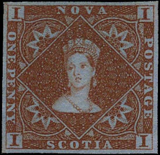 NOVA SCOTIA 1851  SG1 Mint 1d red-brown on bluish paper