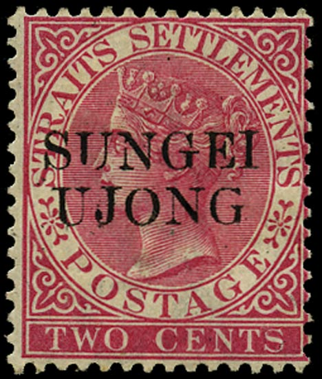 MALAYA - S. UJONG 1885  SG45b Mint 2c bright rose variety Antique G in UJONG