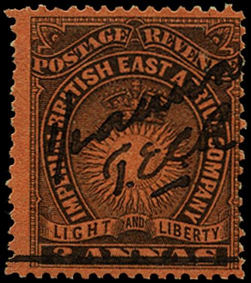BRITISH EAST AFRICA 1895  SG31 Mint '½ anna' on 3a manuscript provisional