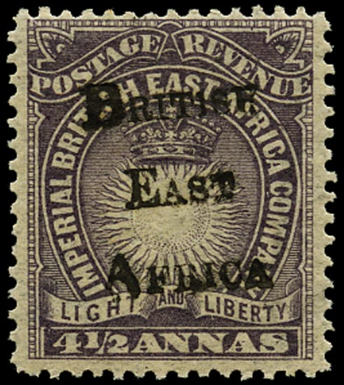 BRITISH EAST AFRICA 1895  SG39 Mint 4½a dull violet type 6 handstamp