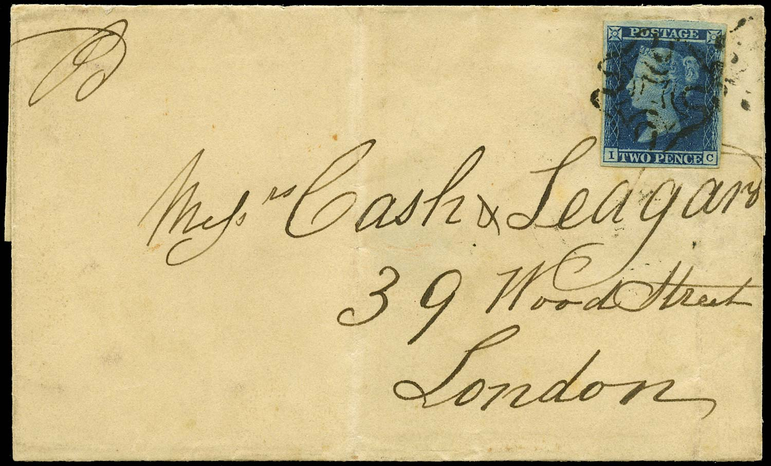GB 1841  SG15 Pl.3 Cover - Late use of Cowes Maltese cross.