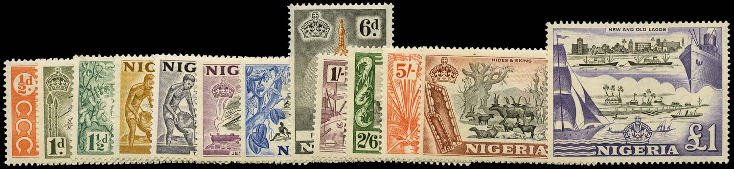 NIGERIA 1953  SG69/80 Mint QEII pictorial set of 13 to £1 unmounted