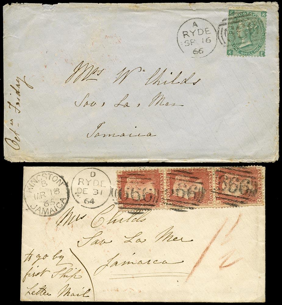 GB 1864-66  SG43,101 Cover - Ryde to Savanna La Mar, Jamaica