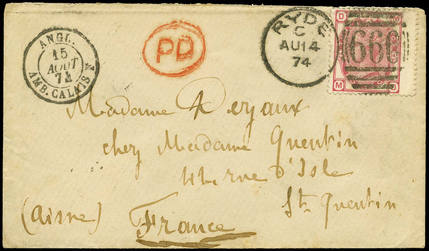 GB 1874  SG143 Pl.14 Cover - Ryde to St Quentin