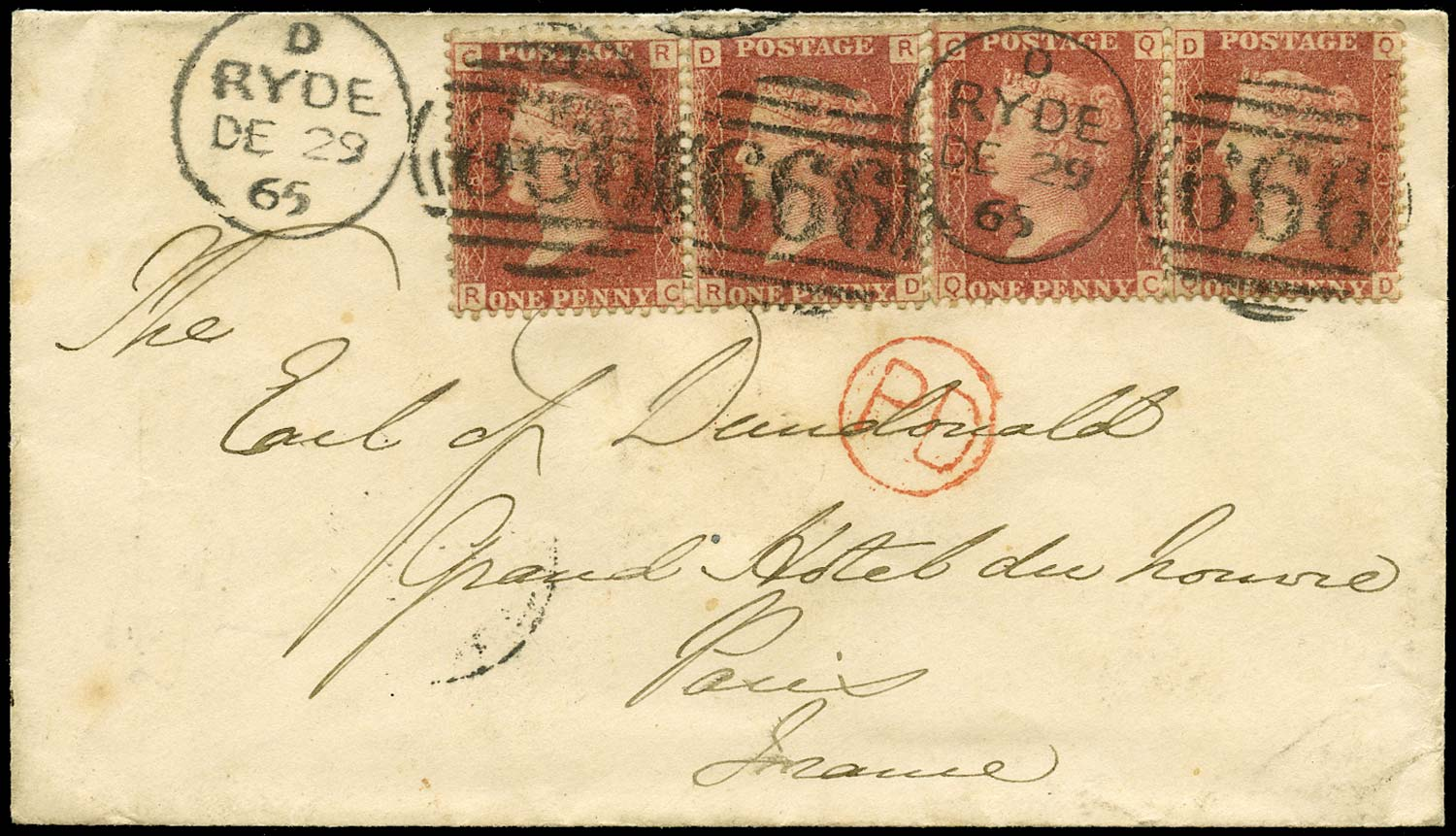 GB 1865  SG43 Pl.81 Cover - Ryde to Paris