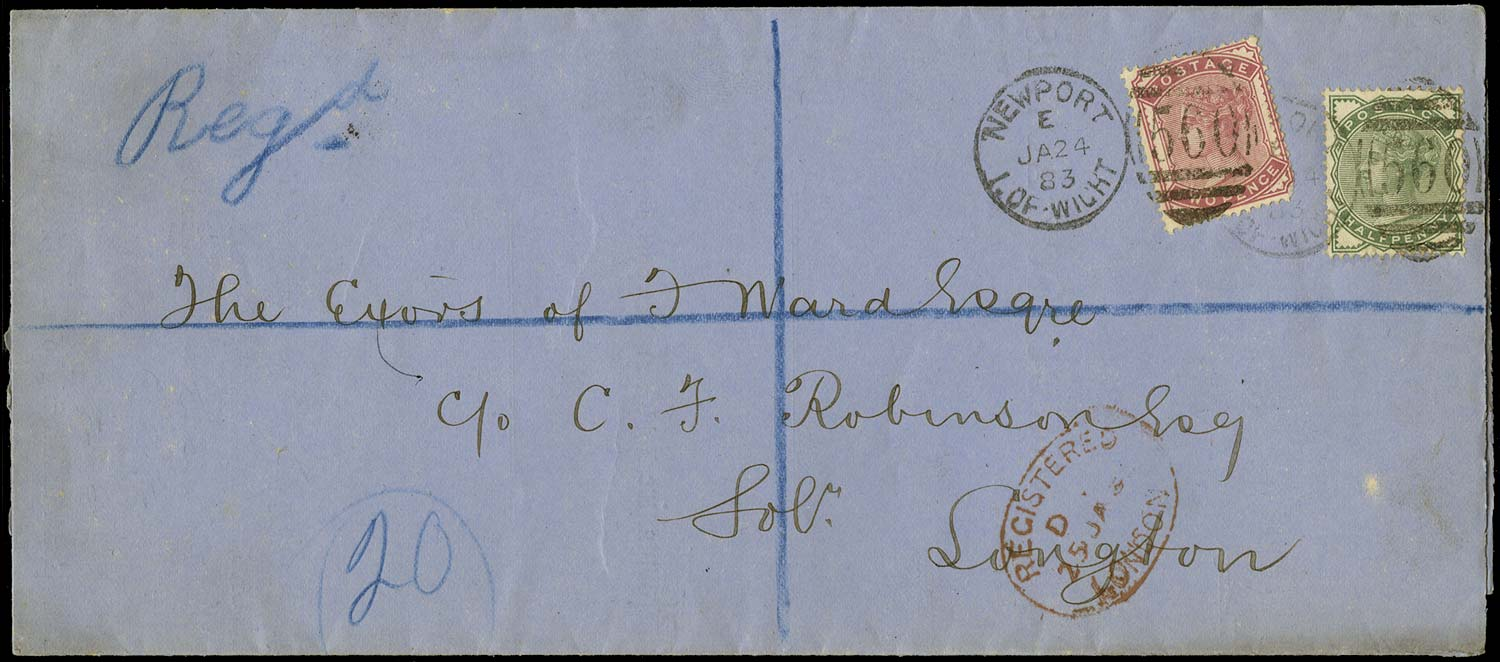 GB 1883  SG165,168 Cover - Registered printed matter rate