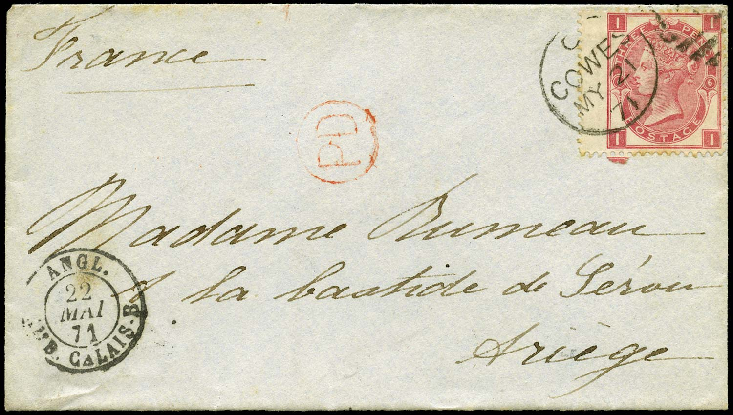 GB 1871  SG102 Pl.6 Cover - Cowes to Ariege