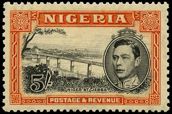 NIGERIA 1938  SG59 Mint 5s black and orange original perf 13x11½