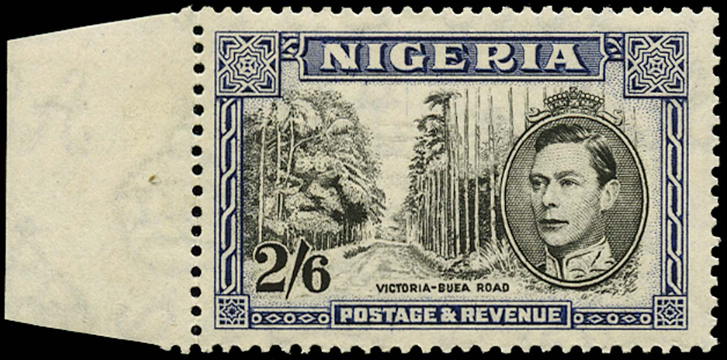 NIGERIA 1938  SG58ab Mint 2s6d black and deep blue perf 13½ unmounted