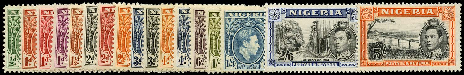NIGERIA 1938  SG49/59a Mint set to 5s including 1d carmine unmounted