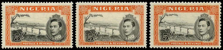 NIGERIA 1938  SG59a/c Mint 5s black and orange perf 13½, 14, 12, unmounted