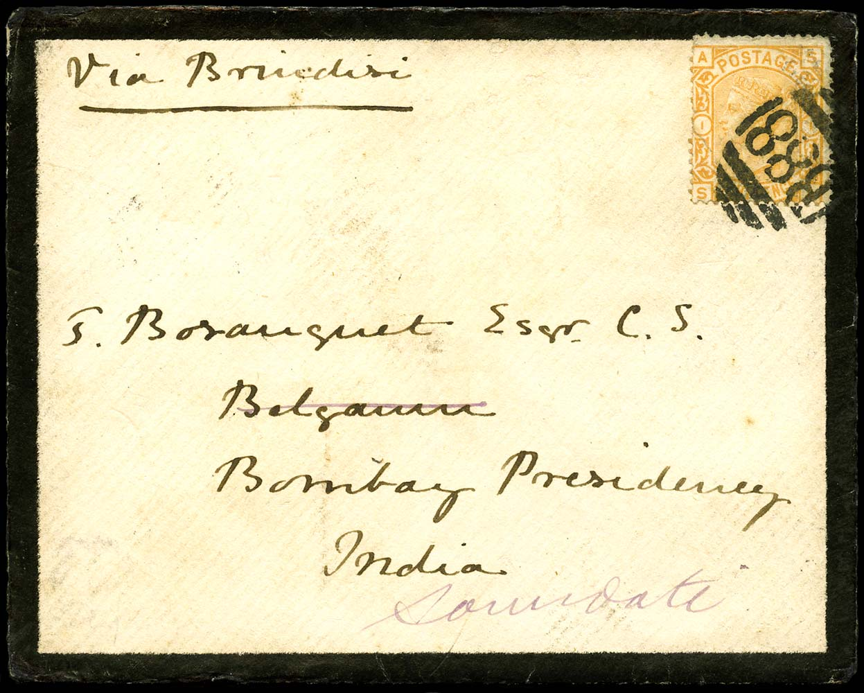 GB 1877  SG156 Pl.1 Cover - Sandown to Belgaum, India
