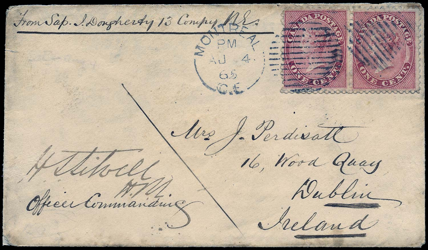 CANADA 1865  SG30 Cover from soldier in the Royal Engineers to Ireland