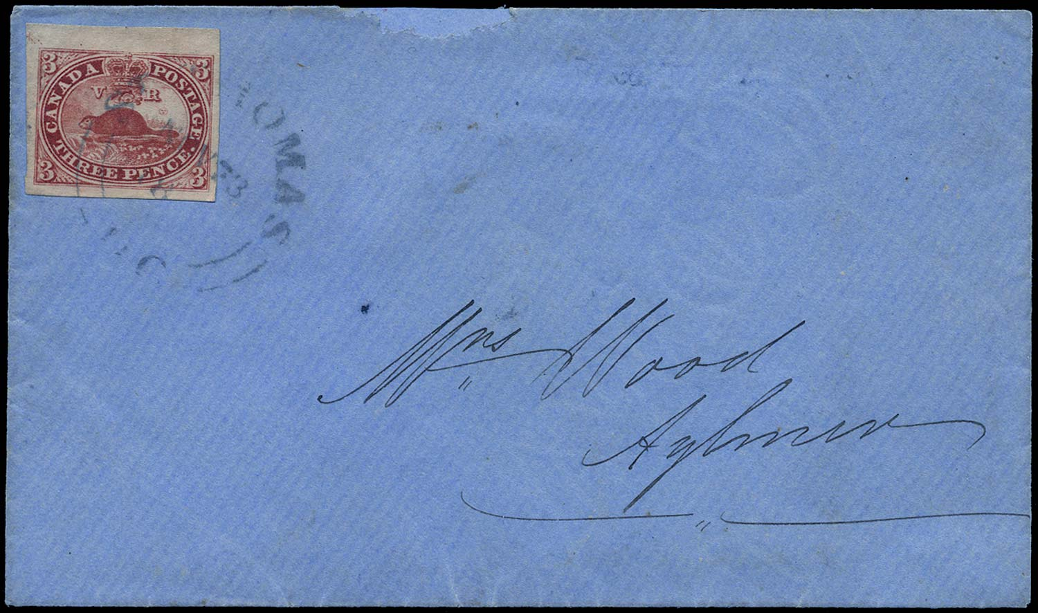 CANADA 1852  SG18 Cover from St Thomas to Aylmer with 3d Beaver