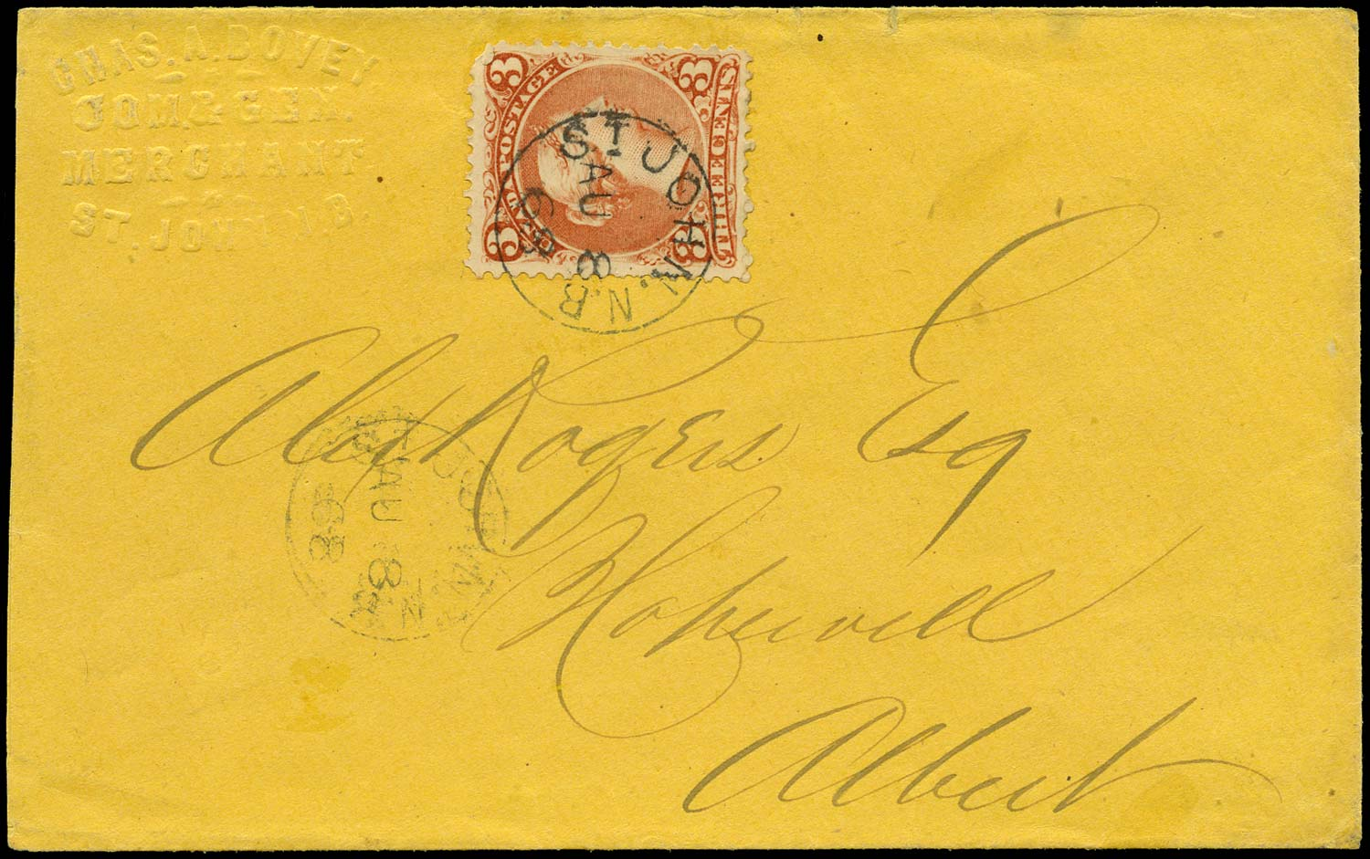 CANADA 1868  SG49 Cover from St John to Hopewell franked 3c Large Queen