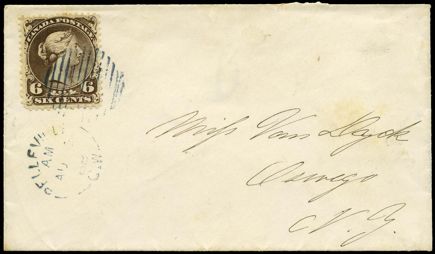 CANADA 1868  SG59 Cover from Belleville to New York with 6c Large Queen