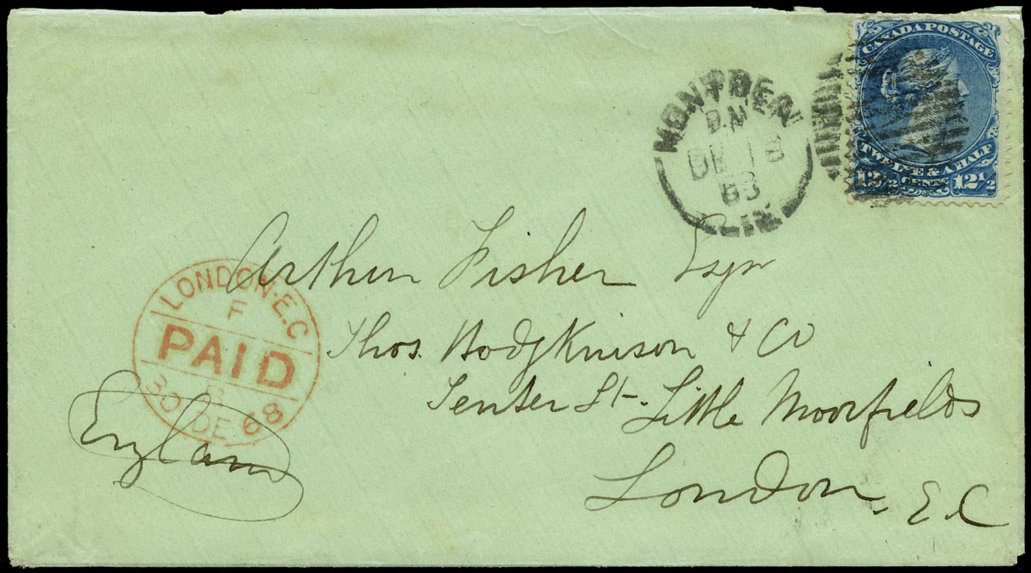 CANADA 1868  SG51 Cover from Montreal to England at 12½c rate