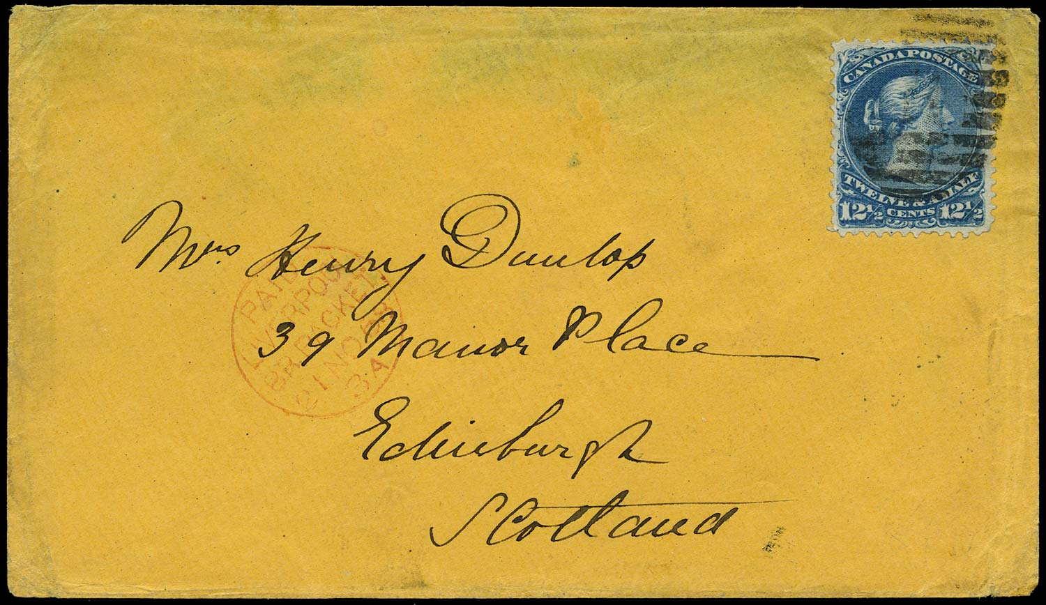 CANADA 1868  SG51 Cover to Edinburgh with 12½c Large Queen Inman Line