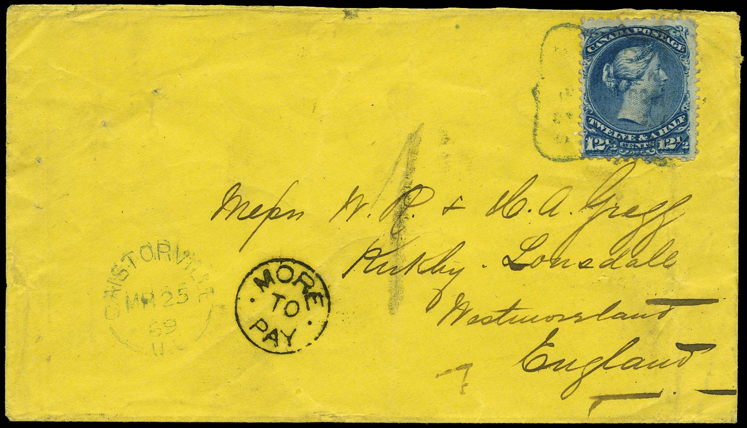 CANADA 1869  SG51 Cover from Castorville to England underpaid at 12½c