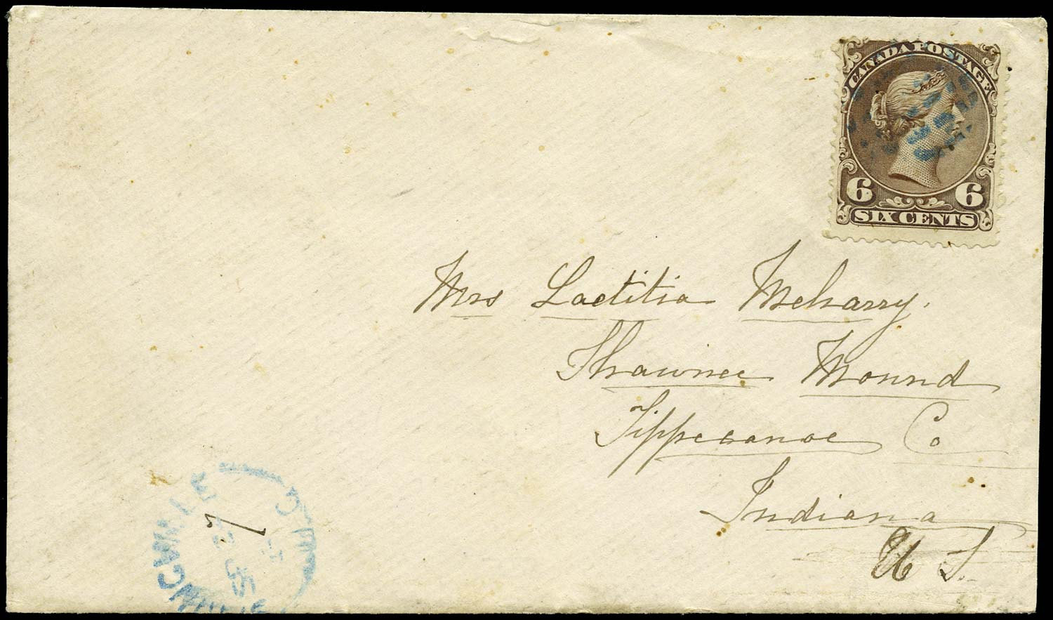 CANADA 1869  SG59 Cover from Springvale to Indiana with Large Queen 6c