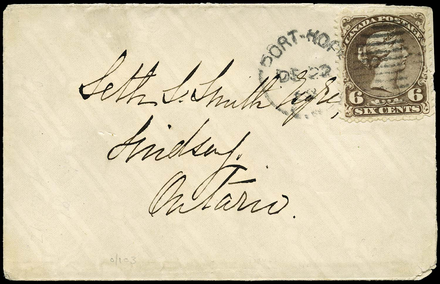 CANADA 1868  SG59 Cover from Port Hope to Lindsay with Large Queen 6c