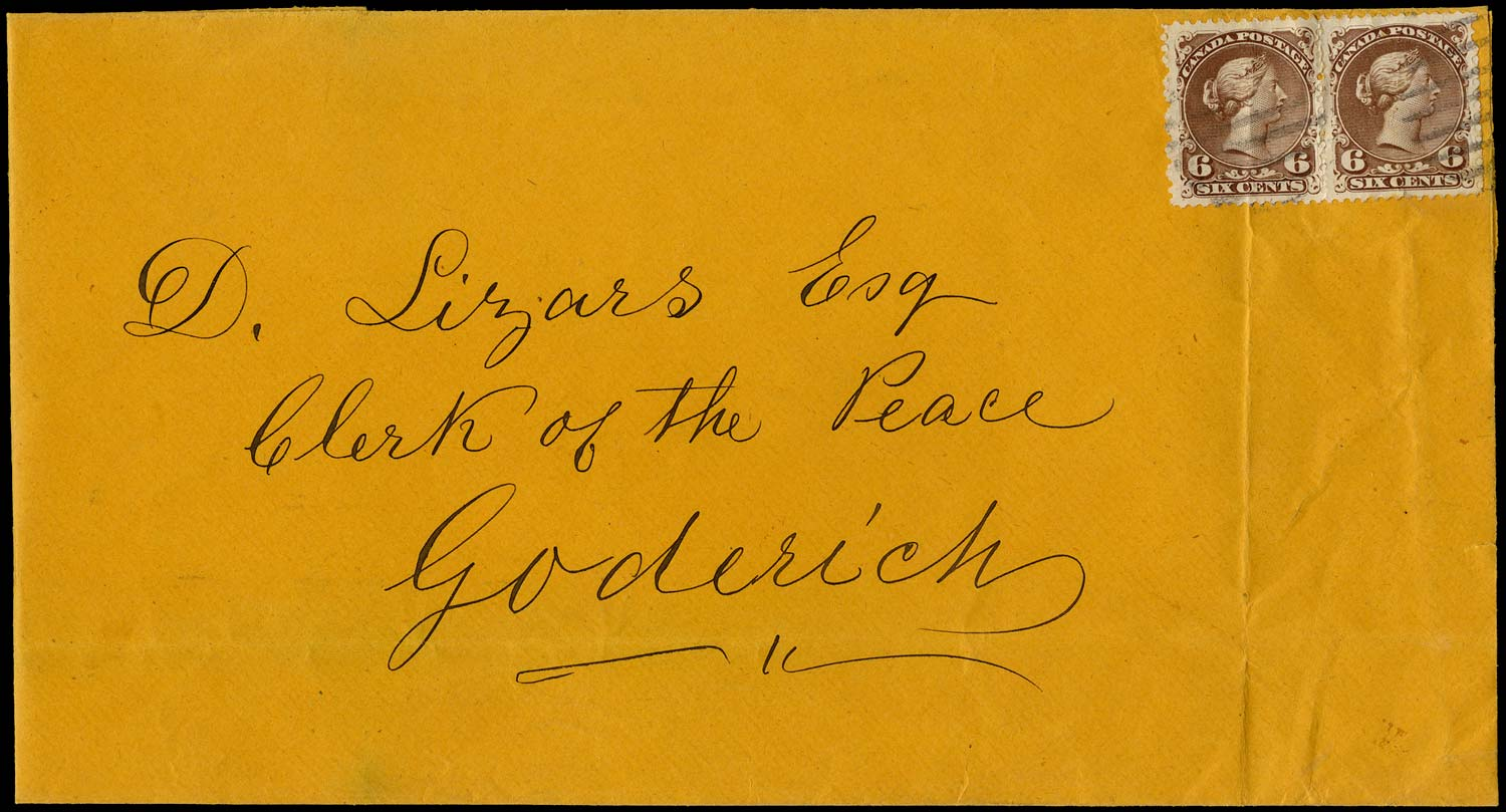 CANADA 1869  SG59 Cover from Seaforth to Goderich with Large Queen 6c