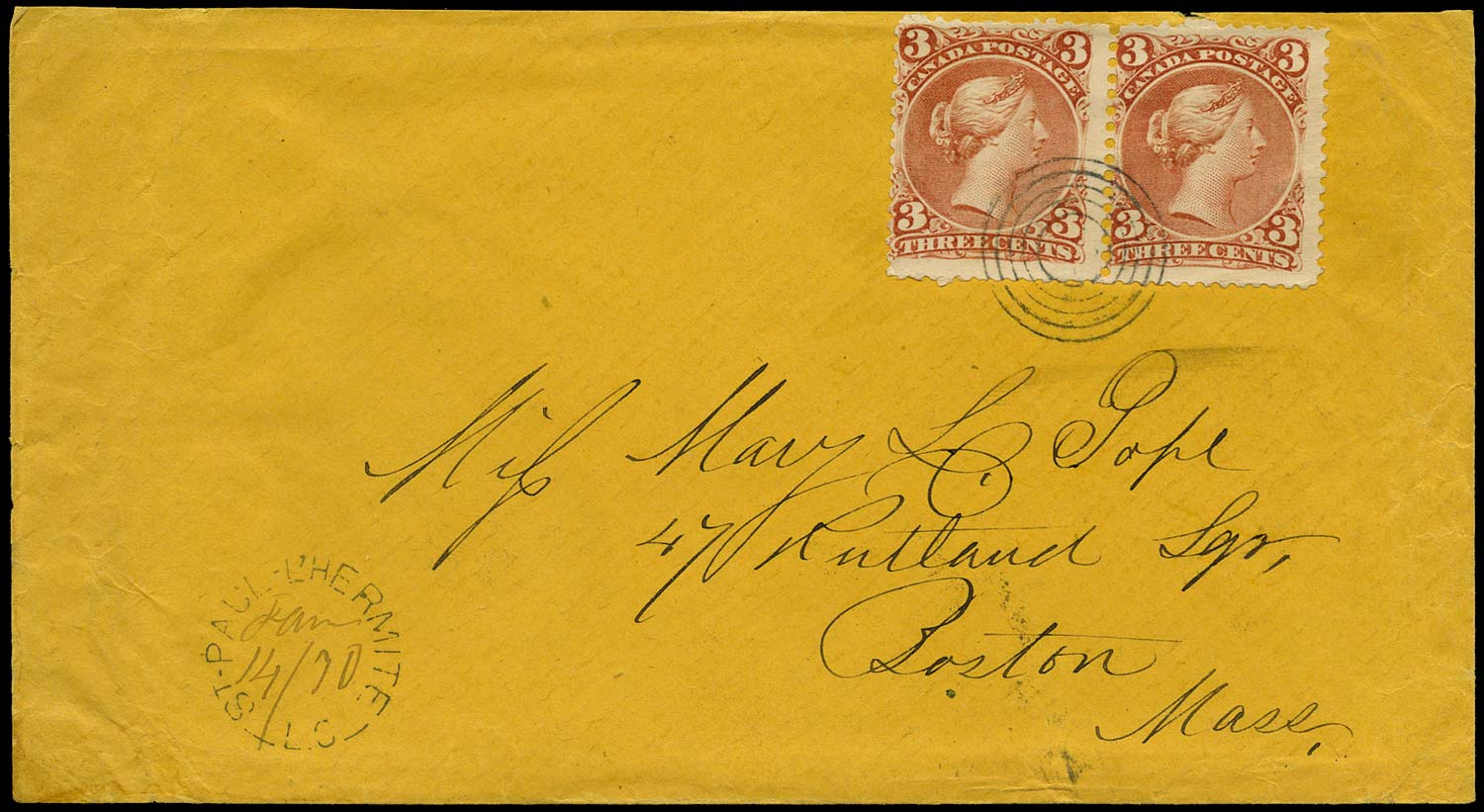 CANADA 1870  SG58 Cover from St Paul to Boston with Large Queen 3c x2
